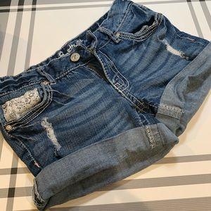 Amethyst Denim & Lace Short Shorts